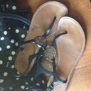 Tory Burch Black Patent Sandal 6